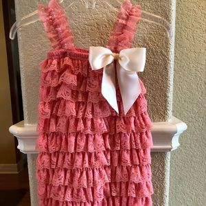 Other - Coral Lace Romper w ivory colored bow size 2-3T